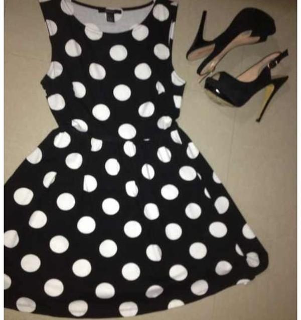 dress polka dors heels black white party cute girly boho