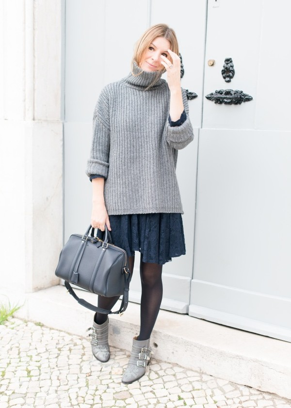 the working girl bag sweater dress shoes jewels susanna boots grey boots lace dress navy dress sweater over dress turtleneck turtleneck sweater grey sweater black bag tights ankle boots
