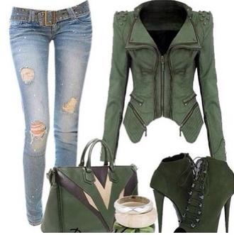 jacket green shoes dress coat pants jeans bag hot sexy clothes compatible stud zip
