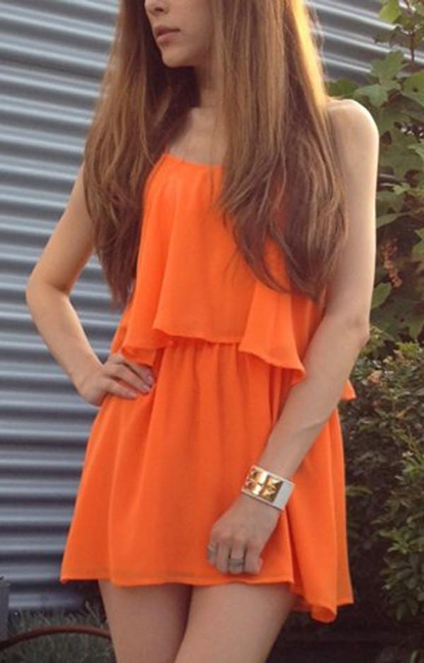 dress ici fashion icifashion orange dress summer dress