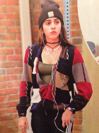 cardigan lourdes leon patchwork colorful 90s style checkered sweater casual jacket