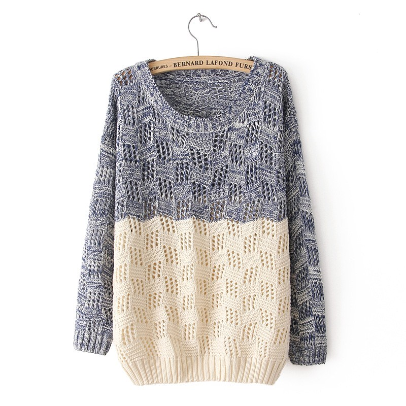 Mixed Color Knit Sweater For Women on Luulla
