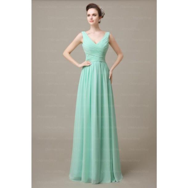 dress mint off the shoulder bridesmaid long
