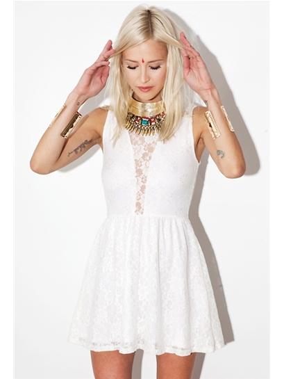 For Love & Lemons Lulu Dress in White