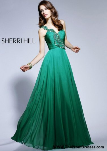Emerald Long Pleated Sequin One Strap Sherri Hill 1456 Prom Gown [Sherri Hill 1456 Green] - $182.00 : Prom Dresses 2014 Sale, 70% off Dresses for Prom