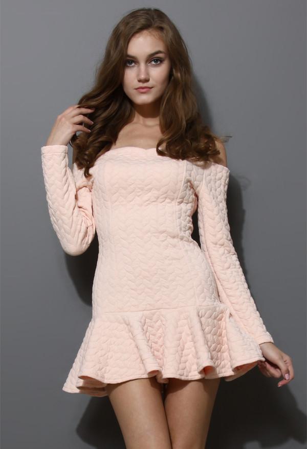 dress quilt off the shoulder frill hem peach