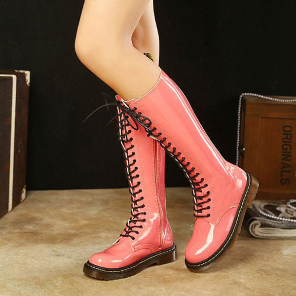 shoes boot candy color flat lace up