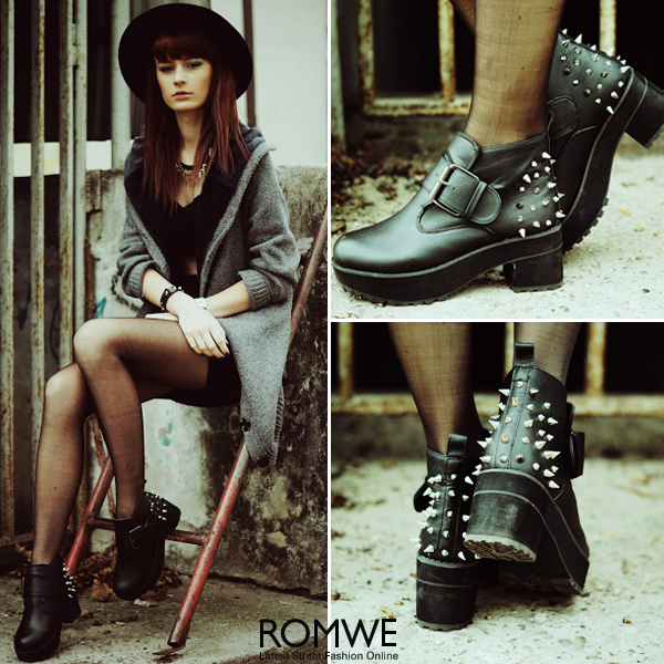 ROMWE | Riveted Chunky Black Ankle Boots, The Latest Street Fashion