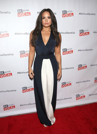 pants top wide-leg pants plunge v neck demi lovato navy