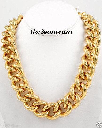 "Bold Gold Tone Solid Metal Urban Chain Necklace 17"" 20"" Fashion Jewelry B4 7894 | eBay"