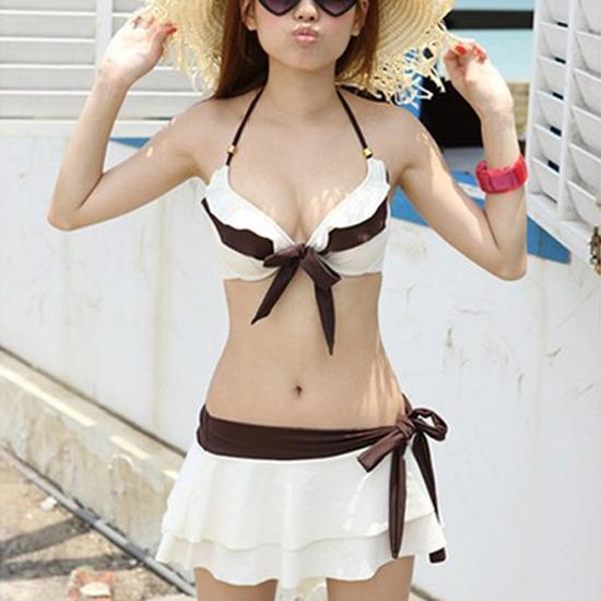 New Sexy Girl's Women's Bikini Set Push Up Bra Swimsuit Spa Swimwear Suit Skirt | eBay
