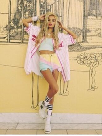 jacket pia mia perez shorts high waisted shorts baby pink stripes black and white baby blue pastel rainbow baseball pastel pink oversized crop tops trainers cut off shorts tank top cardigan