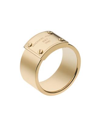 Michael Kors Logo-Plate Ring, Golden - Michael Kors