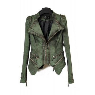 Buy Fashion Clothing -  Women's Short Slim Studded Zippers Shrug Shoulders Jacket  - Jackets & Blazers - Outwear