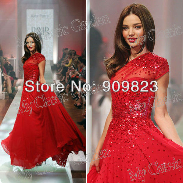 Aliexpress.com : Buy Customer Made Miranda Kerr One Shoulder Short Sleeve Sequins A Line Full Length Chiffon Red Carpet Celebrity Dresses New from Reliable dresses fashion suppliers on my classic garden