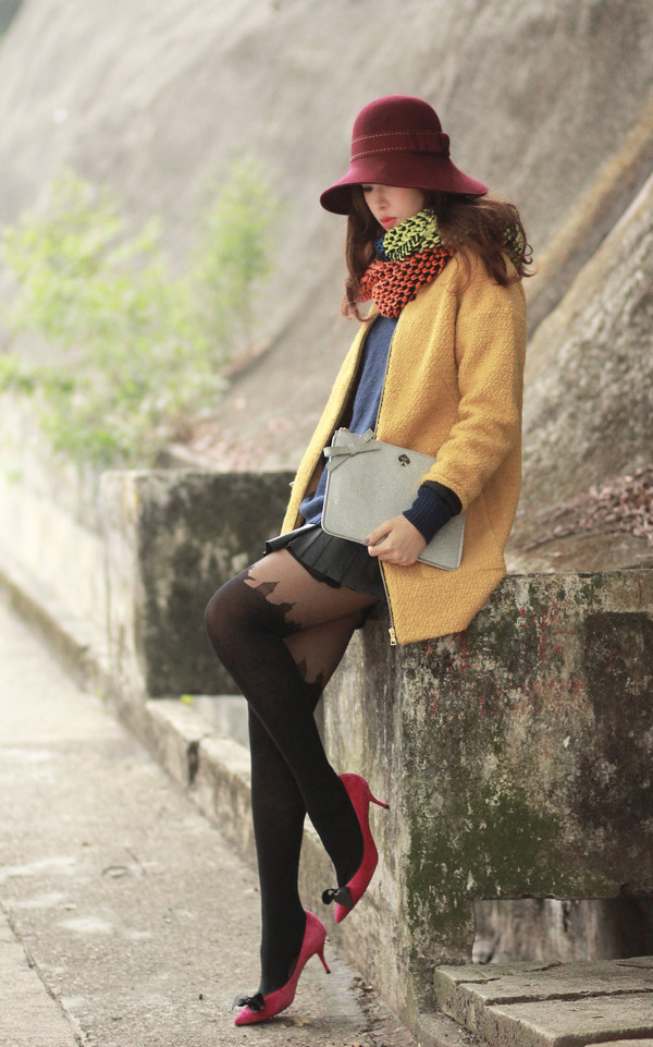 mellow mayo hat coat jewels bag skirt