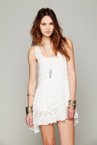 intimately free people womens voile and lace trapeze slip