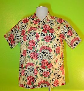 """Skulls Roses"" Ivory Something Fishy Handmade Shirt 2XL Hawaiian Tropical 