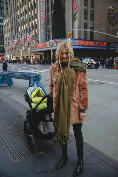 barefoot blonde blogger braid blanket scarf faux fur winter coat