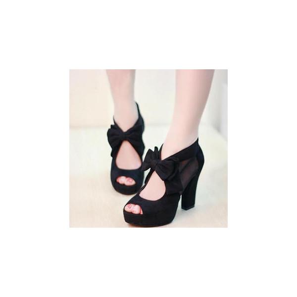 Bow-Accent Platform Heel Sandals - Mancienne - Polyvore