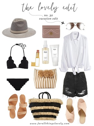 for all things lovely blogger hat sunglasses swimwear make-up shirt bag shorts shoes gucci bag denim shorts clutch sandals