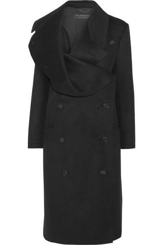 coat draped black wool