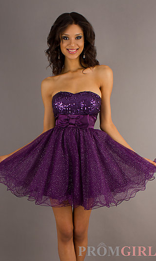 Prom Dresses, Celebrity Dresses, Sexy Evening Gowns - PromGirl: Short Strapless Sequin Embellished Dress