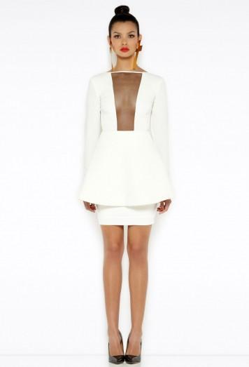 Faith Cream Peplum Mini Dress AQ/AQ