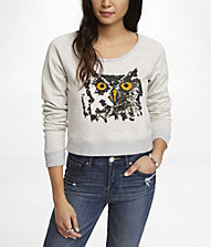 CROPPED GRAPHIC SWEATSHIRT - SEQUIN OWL | Express
