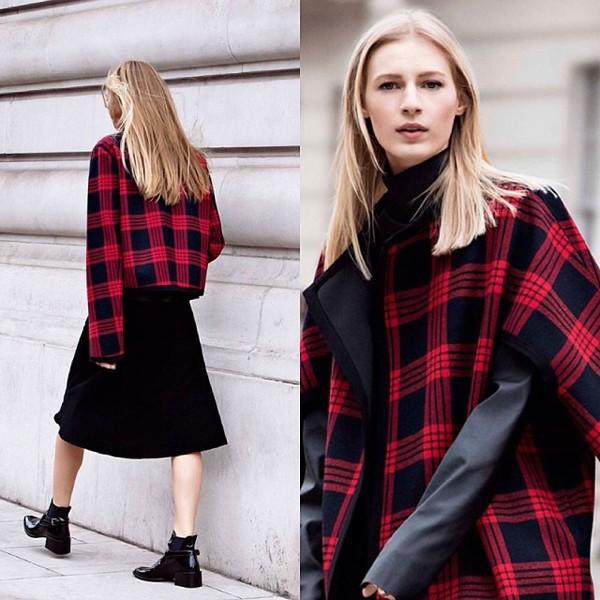 jacket zara red black plaid checkered shoes