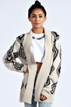 Cassie Aztec Shawl Collar Cardigan at boohoo.com