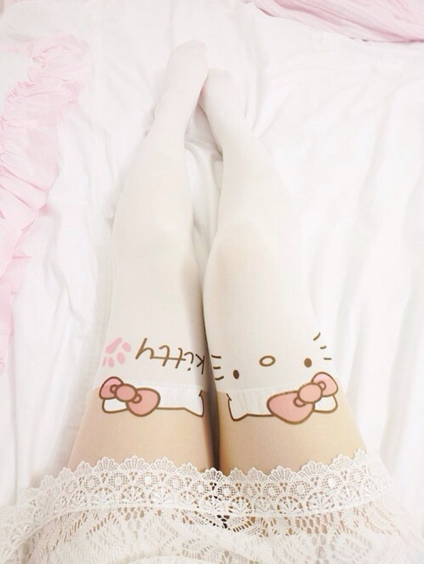 pants tights hello kitty white cute cats jeans
