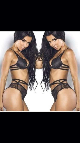 underwear dessous strappy lingerie set black bra strappy bra