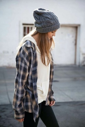 hat shirt jacket plaid plaid shirt flannel flannel shirt white hoodie hoodie beenie black leggings comfy casual sweater sweatshirt t-shirt coat button up blouse hippie hipster beanie cardigan top winter outfits winter sweater cute teenagers girl checkered cozy style hair accessory grey beanie grey fall outfits clothes layered clothes layered pants black grunge squared shirt
