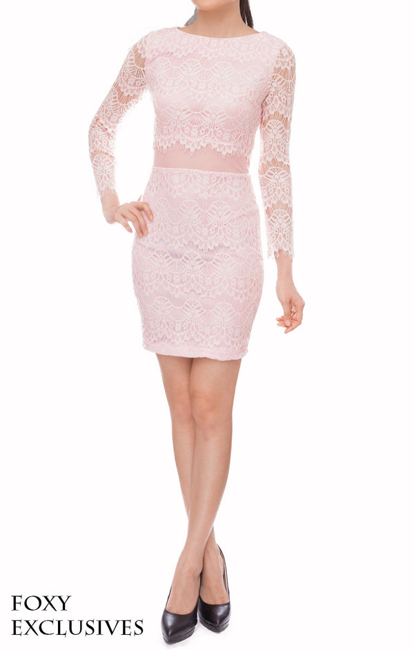 women lace dress shift dress sheer mesh feminine baby pink dress