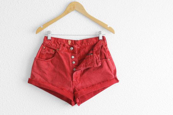 Red High Waisted Denim Shorts Red ShortsVintage by 2treasurehunt