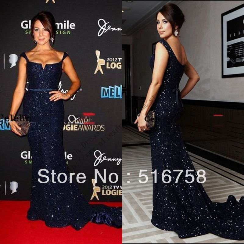 Free Shipping Kate Richie Low Cut Back Belt Navy Blue Sequin Floor Length Long Red Carpet Evening Mermaid Trumpet Long Dress on Aliexpress.com