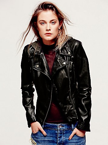 Free People  Vegan Leather Hooded Motorcycle Jacket at Free People Clothing Boutique