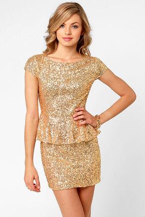 Champagne Dame Brilliant Gold Sequin Dress - $57 : Fashion Shop By Color at LuLus.com