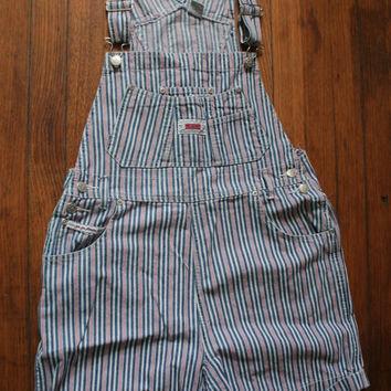 Womens 90s Grunge Striped Denim Bib SHORTALLS/ Womens Shortalls Red,White, Blue Stripes /  OVERALL Shorts on Wanelo