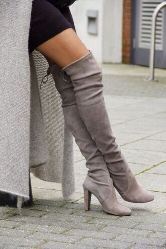 shoes grey grey thigh high boots rounded toe boots boots thigh highs grey shoes grey boots high heels medium heels rounded toe over knee boots knee high boots suede boots chunky heels gray boots thigh high boots bold cute girly over the knee boots dress fasihon long boots sexy boots heels black boots