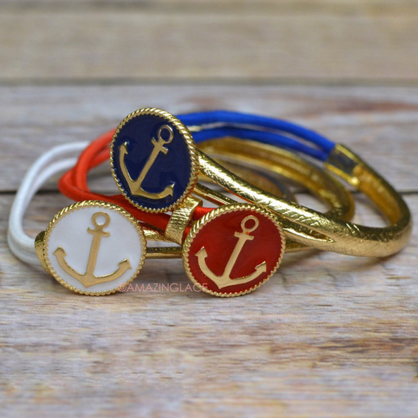 jewels, nautical, anchor, bracelets, red white blue, sailor, nautical  jewelry, beach, beachy jewelry - Wheretoget