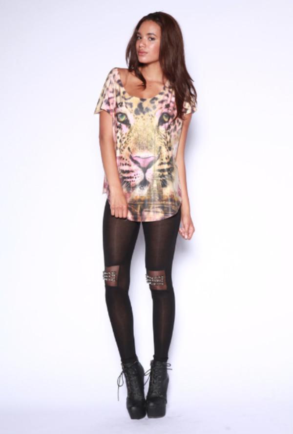 top leopard print leopard graphic top leopard print animal tattoo short sleeve cat eye leopard print