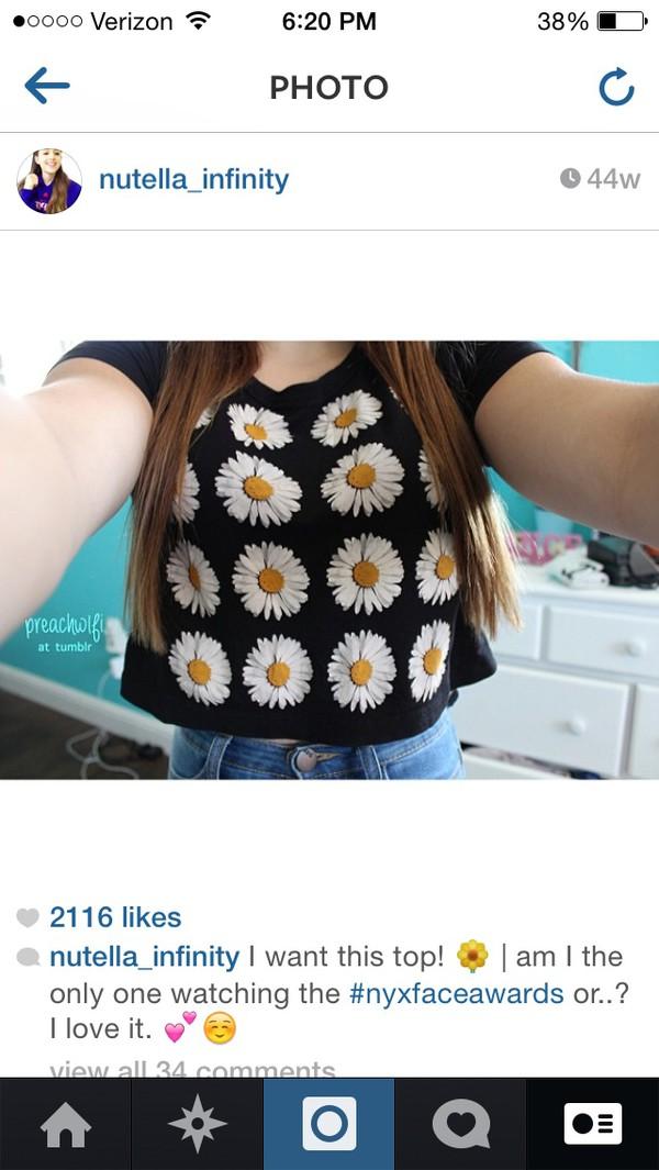 crop tops daisy black floral