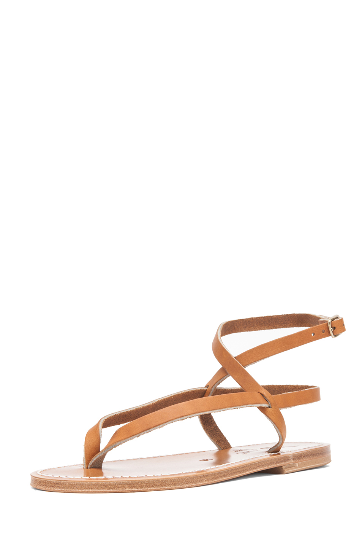 K Jacques Delta Ankle Strap Sandals in Natural