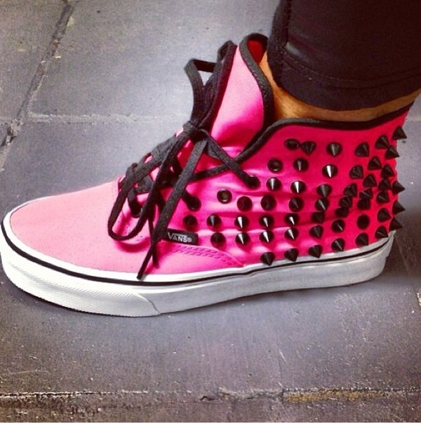 shoes vans studs pink studded shoes