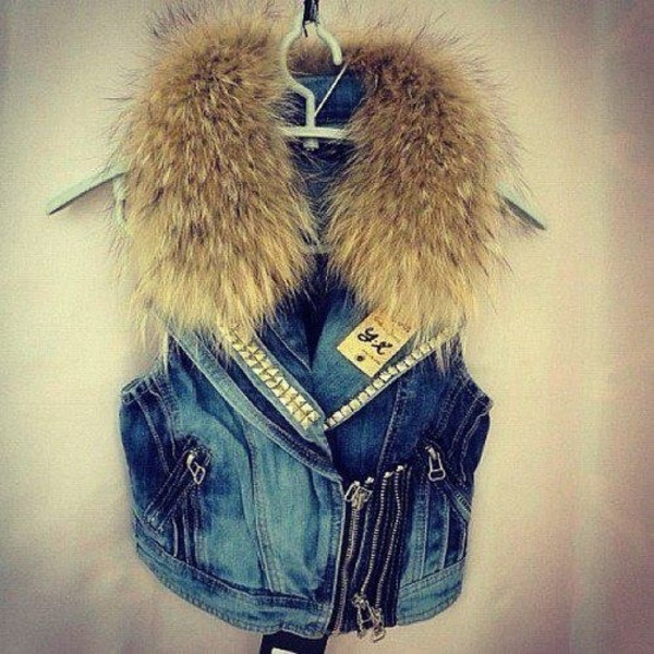 jacket jeans sweater blue coat faux fur jacket jean vest cool cute jean fur jacket faux fur coat fur cardigan