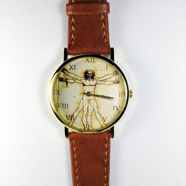 jewels anatomy watch da vinci vintage art science leather watch watch watch boyfriend watch roman numerals