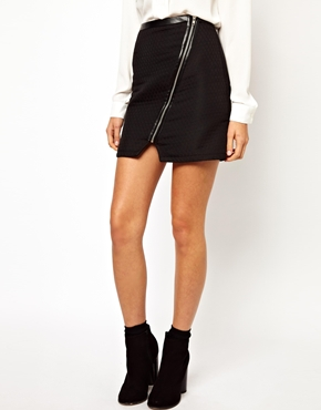 Warehouse | Warehouse Quilted Zip Detail Skirt at ASOS