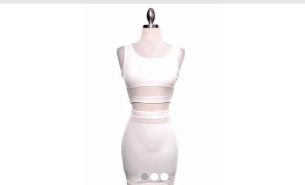 dress two-piece white bodycon mesh stripes see through
